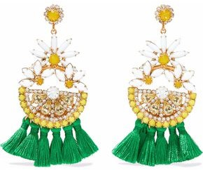 Elizabeth Cole 24-Karat Gold-Plated Swarovski Crystal And Tassel Earrings
