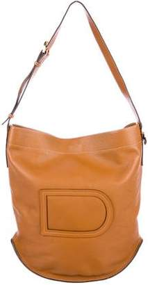 Delvaux Grained Leather Bucket Bag