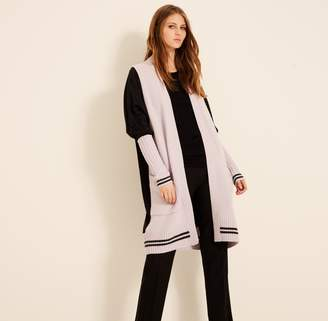 Amanda Wakeley Opal & Charcoal Ribbed Cashmere Cardigan