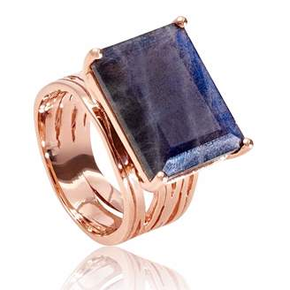 Neola - Pietra Rose Gold Cocktail Ring With Labradorite
