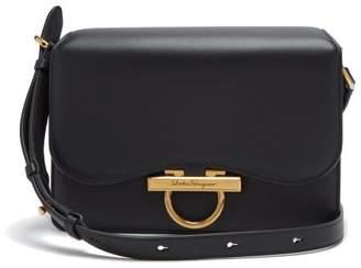 Salvatore Ferragamo Gancini Leather Flap Bag - Womens - Black