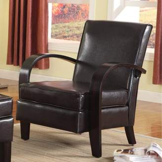 Roundhill Furniture Roundhill Wonda Bonded Leather Accent Arm Chair with Ottoman, Multiple Colors Available