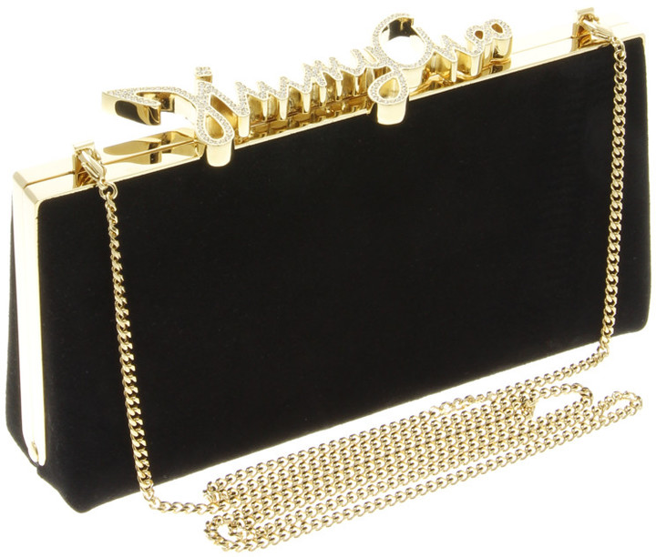 Jimmy Choo CELESTE Suede and Crystal Clasp Clutch