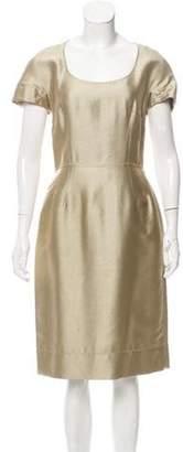 Dolce & Gabbana Short Sleeve Midi Dress Gold Short Sleeve Midi Dress