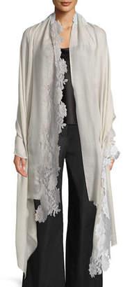 Bindya Accessories Wool-Silk Scarf w/ Mixed Lace Trim