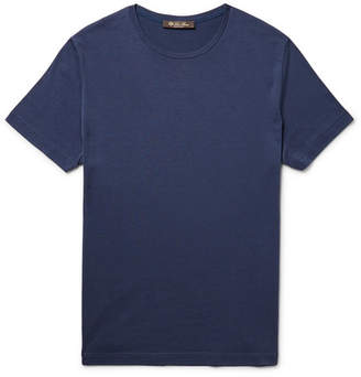 Loro Piana Slim-Fit Silk and Cotton-Blend T-Shirt - Blue