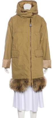 Moncler Hooded Down Coat Brown Hooded Down Coat