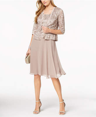 R & M Richards Petite Sequined Lace Chiffon Dress & Jacket