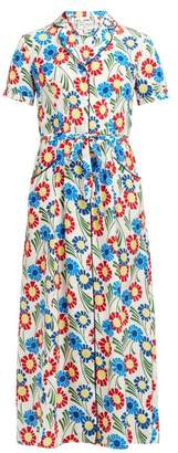 HVN Long Maria Sunflower Print Silk Midi Dress - Womens - Multi