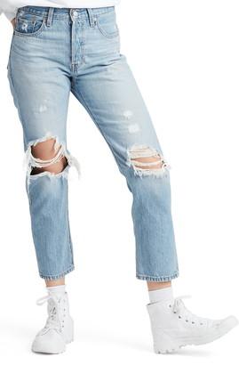 Levi's 501® High Waist Ripped Crop Straight Leg Jeans