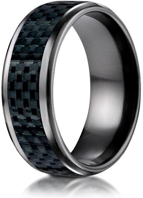 Benchmark Black Titanium 8mm Comfort-Fit Carbon Fiber Inlay Design Ring