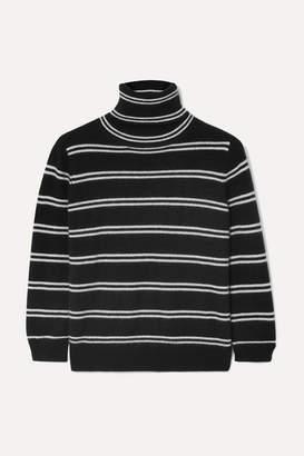 Madeleine Thompson Sesto Striped Cashmere Turtleneck Sweater - Black