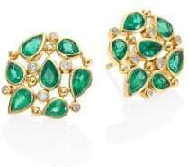 Temple St. Clair Pear Cluster Diamond, Emerald& 18K Yellow Gold Stud Earrings