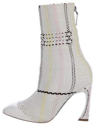 Christian Dior 2015 Cord Cap-Toe Ankle Boots