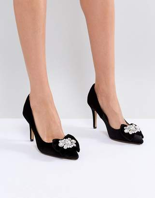 Head Over Heels by Dune Addore Black Velvet Pumps