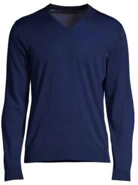 Corneliani Men's Merino Wool V-Neck Sweater - Cobalt Navy - Size 56 (46)