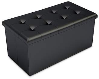 Home-Complete HC-7001 Storage Ottoman-Faux Leather Rectangular Bench with Lid-Space Saving Furniture for Blankets