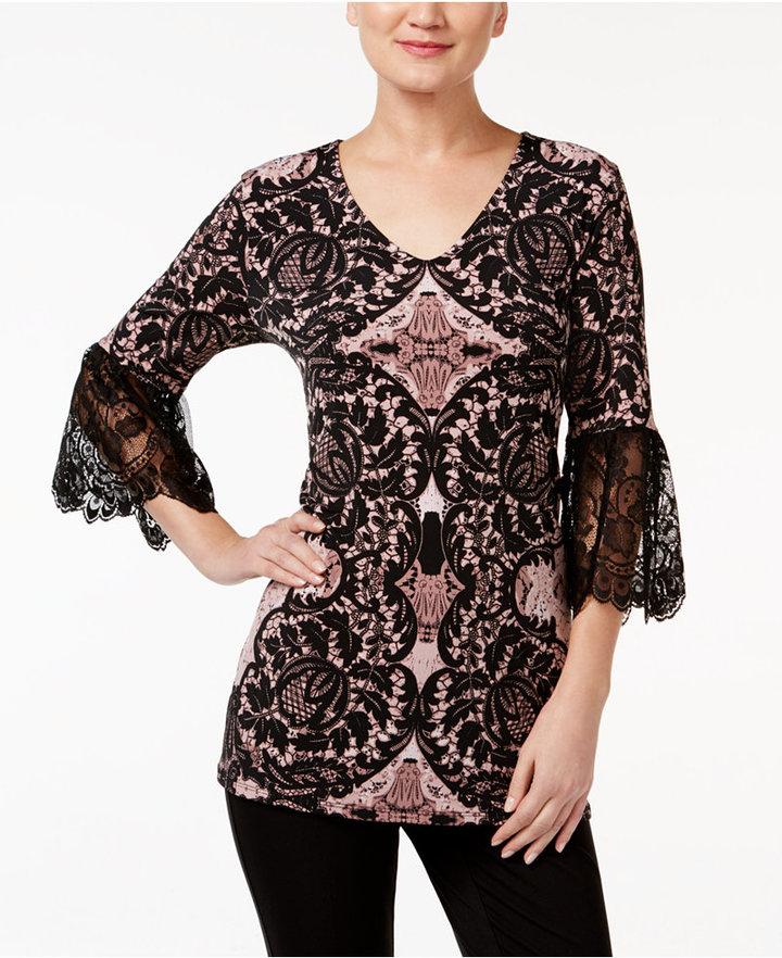 AlfaniAlfani Lace-Sleeve Top, Only at Macy's
