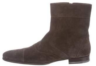 Santoni Suede Zip Boots