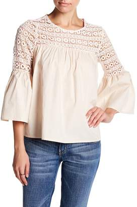 Endless Rose Lace Yoke Bell Sleeve Blouse