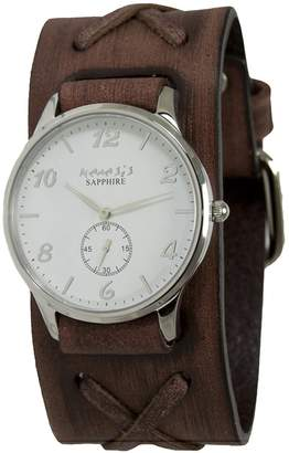 Nemesis Men's 'Sapphire' Quartz Stainless Steel and Leather Casual Watch, Color:Brown (Model: BS72B253W)