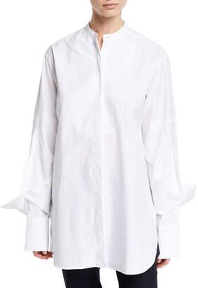 Rokh Folded-Cuff Cotton-Poplin Button-Front Blouse