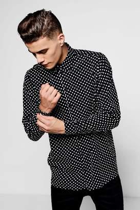 boohoo Long Sleeve Polka Dot Shirt