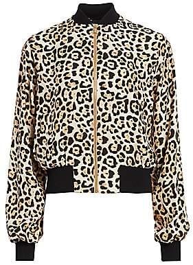 ATM Anthony Thomas Melillo Women's Leopard-Print Silk Bomber Jacket