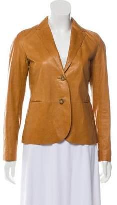 Vince Leather Notch-Lapel Jacket