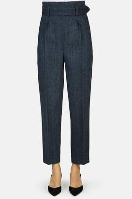 Erdem Nelle High Waisted Cropped Trouser With Belt - Blue/Black