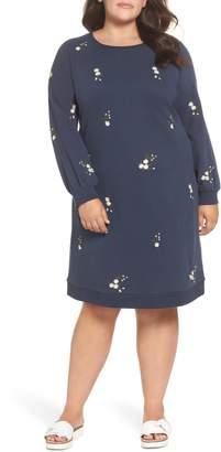 Caslon Embroidered Fleece Knit Dress