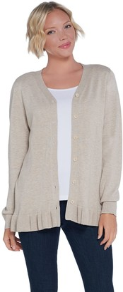 Joan Rivers Classics Collection Joan Rivers V-Neck Cardigan with Ruffle Hem Detail