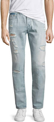 True Religion Dean Distressed Slim-Straight Jeans, Worn Tropics (Light Blue)