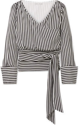 Alice + Olivia Alice Olivia - Alba Striped Silk Wrap Blouse - Black