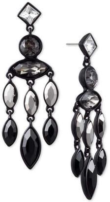 DKNY Black-Tone Crystal & Stone Chandelier Earrings