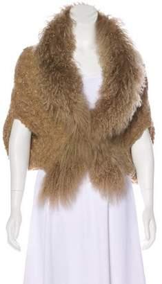 Hanii Y Fur-Trimmed Knit Bolero