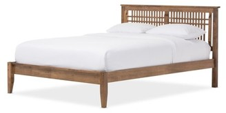 Baxton Studio Loafey Mid-Century Modern Solid Walnut Wood Window-Pane Style Platform Bed, Multiple Sizes