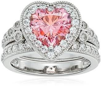 Swarovski Platinum-Plated Sterling Silver Zirconia Fancy Heart Antique Ring