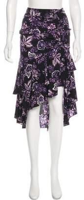 Veronica Beard Printed Midi Tiered Skirt