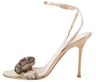 Rene Caovilla Lace-Accented Leather Sandals