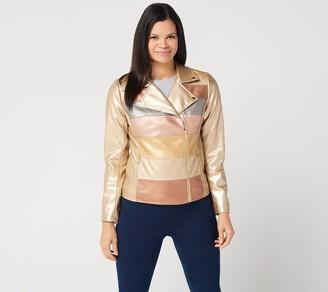 G.I.L.I. Got It Love It G.I.L.I. Novelty Faux Leather Striped Jacket