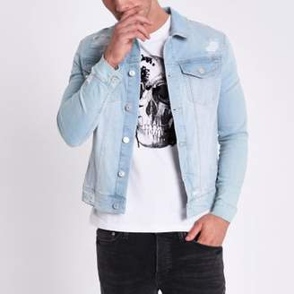 River Island Light blue muscle fit ripped denim jacket