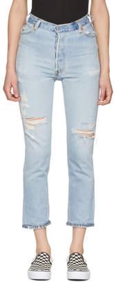 RE/DONE Indigo Levis Edition No Destruction High-Rise Ankle Crop Jeans