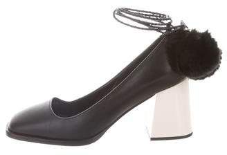 4a9b8fd765f Pre-Owned at TheRealReal Max Mara Squared-Toe Leather Pumps