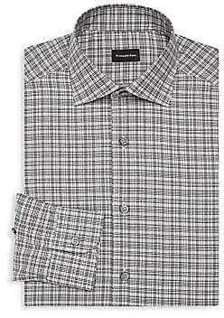 Ermenegildo Zegna Men's Regular-Fit Plaid Cotton Dress Shirt