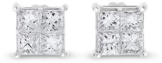 14k White Gold 1.02 Ct. Natural Diamond Princess Cut Square Screw Back Earrings