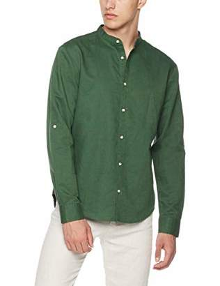 Isle Bay Linens Men's Slim-Fit Linen Cotton Blend Roll-up Long Sleeve Band Collar Woven Shirt