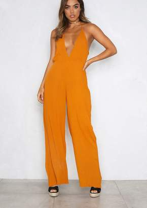 Missy Empire Missyempire Tanya Orange Halterneck Wide Leg Jumpsuit