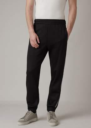 Giorgio Armani Jogging Pants In Double Jersey With Chevron Stripe