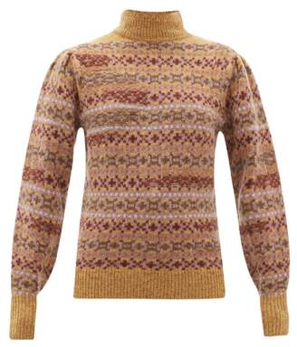 Etoile Isabel Marant Ned Fair Isle Knitted Wool Sweater - Womens - Brown Multi
